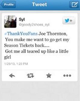Syvia's tweet about Joe Thornton